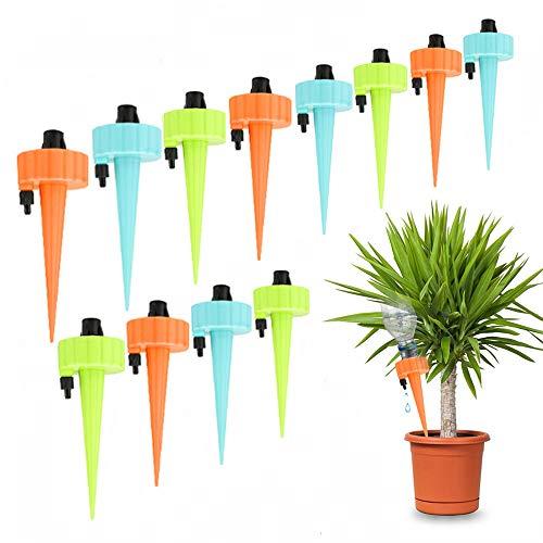 Achort 12 Stks Watering Apparaten Automatische Plant Waterer Zelf Druppel Irrigatie Spike Plant Watering Systeem met Controle Klepschakelaar voor Outdoor Kamerplanten Boom
