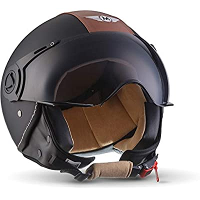 L Moto Helmets H44 Bobber Vintage Chopper Demi-Jet Helmet Scooter Chopper Pilot Retro Biker Vespa Moto Mofa Casque Jet Cruiser 59-60cm Vintage Black Noir