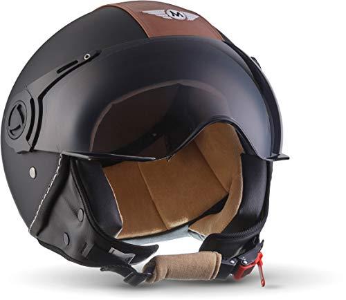 "Moto Helmets® H44 ""Vintage Black"" · Jet-Helm · Motorrad-Helm Roller-Helm Scooter-Helm Moped Mofa-Helm Chopper Retro Vespa Vintage Pilot Biker · ECE 22.05 Visier Schnellverschluss Tasche L (59-60cm)"