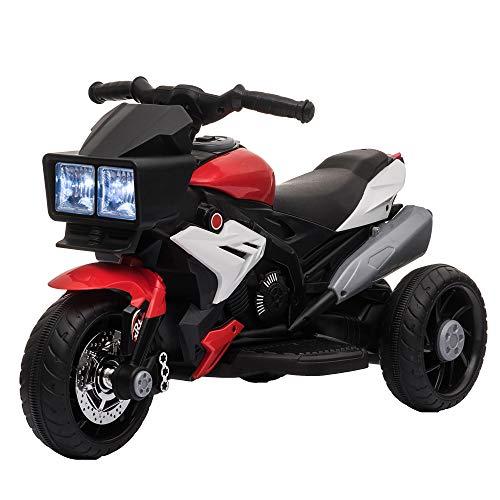 HOMCOM Moto Eléctrica Infantil con 3 Ruedas para +3 Años Triciclo con Pedal para Niños Batería 6V con Luces Música Neumáticos Anchos Velocidad Máxima de 3 km/h 86x42x52 cm Rojo