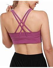 G4Free Gewatteerde Sport Bh Voor Dames Crop Top met Bandjes en Geïntegreerde Bh Hardlooptraining Yoga Bralette