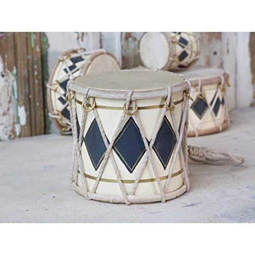Chic Antique Trommel Deko-Trommel Handarbeit mit echtem Leder bezogen Holztrommel Militärtrommel