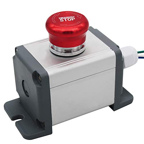 Mxuteuk Interruptor de botón de parada de emergencia de acero inoxidable de 22 mm, 12 – 220 V, 3 A, 1 NC, caja de estación de conmutación con enchufe de conexión, 1 año de garantía MXU-XT-JH