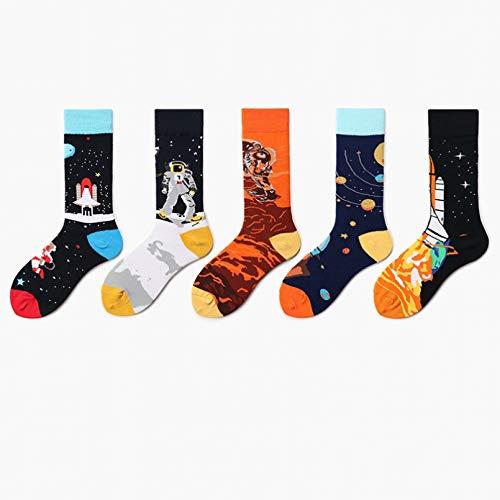 MIWNXM 10 Pares Spring Cotton Women Space Socks Summer Fashion Astronaut Planet Socks Universe Novelty Short Funny Socks