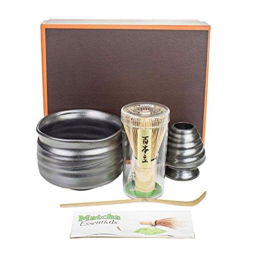Tea Master Japanese Ceremonial Matcha Green Tea Starter Kit, Modern Gift Set (Black Metallic)