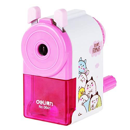 Famixyal Cute ROLLING FRIENDS Pink Pencil Sharpener Hand Crank Manual Sharpener Animal Cartoon Pencil Cutter For School Stationery Office Students Supplies Children Kids Gift