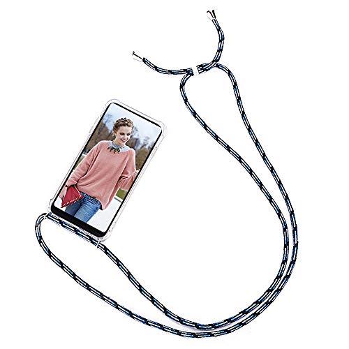 Mosoris Handykette+ Handyhülle mit Band kompatibel für Xiaomi Mi Mix 2S Weich TPU Transparent Silikon Handy Hülle Cover Stoßfest Schutzhülle Bumper Tasche Hülle Halsband Lanyard Cover Blau + schwarz