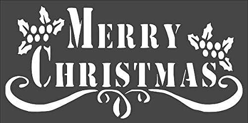 1- 6x12 inch Custom Cut Stencil Max 80% OFF 5 ☆ very popular Arts an Merry TF-68 Christmas