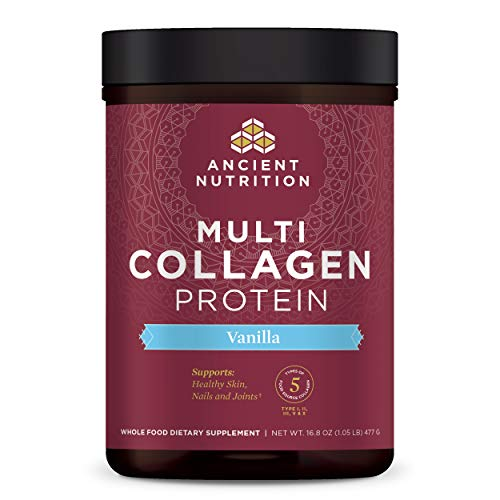 Multi Collagen Protein Powder, Vanilla, Formulated by Dr. Josh Axe, 5 Types of Food Sourced Collagen, Supports Joints, Hair, Skin and Nails, Made Without Dairy or Gluten, 16.8oz