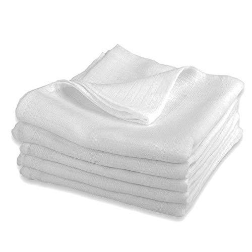 Mullwindeln LUX - 5er Pack weiß 80x80 cm | PREMIUM QUALITÄT - Stoffwindeln & Mulltücher fürs Baby (5 Stück weiße und, 80x80 cm)