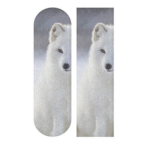 LMFshop 33,1x9,1 Zoll Sport Outdoor Skateboard Grip Tape Für Mädchen Schneewittchen Arctic Fox Print wasserdichte Longboard Schleifpapier Für Tanzbrett Doppel Rocker Board Deck 1 Blatt