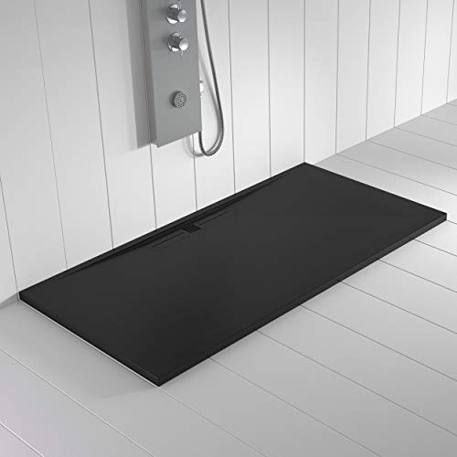 Shower Online Piatto doccia in resina Wide - 80 x 110 - texture ardesia - antiscivolo - tutte le misure disponibili - include griglia colore bianco e sifone - nero RAL 9005