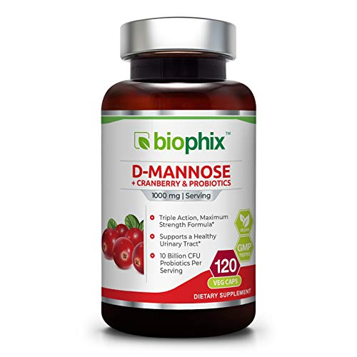 D-Mannose Plus Cranberry and Probiotics 1000 mg 120 Vcaps - Urinary Tract Health | Bladder Infection | Support UTI Prevention | Digestive Health