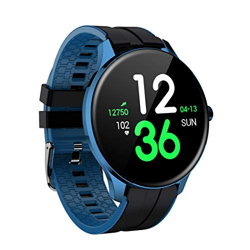 "Sysmarts Fitness Trackers,Health Sports Smart Watch with Heart Rate & Sleep Monitor,Calorie Step Counter,1.3"" Touch Screen,IP68 Waterproof Pedometer Activity Trackers for Women Men (Dark Blue)"