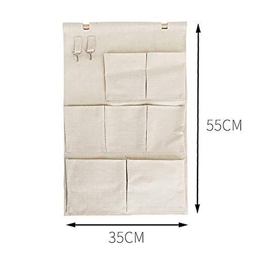 壁掛け収納式ウォールポケット3段7個のポケット収納ポケットポケット小物収納袋2つの金属フック付き綿麻省スペース