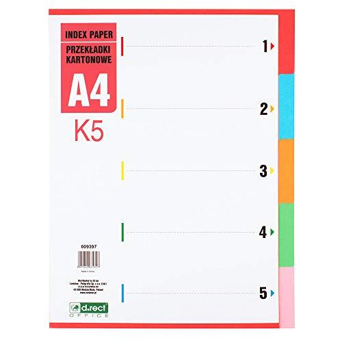 D.RECT K5 Register Trennblätter Kartonregister | Ordner Register DIN-A4 | Verschiedene Farben 5-teilig aus Karton 1-5