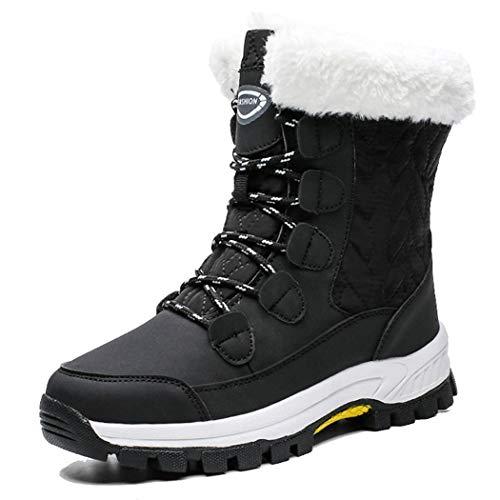 Schneeaufladungen der Frauen Winter dicke rutschfeste warme High-Top-Baumwollschuhe Freizeitsportschuhe Berg Skischuhe,Schwarz,38EUR