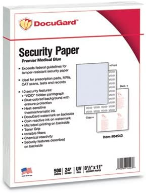 DocuGuard 1 year warranty Premier Medical 10 Bus Prescription Papers and Popular product