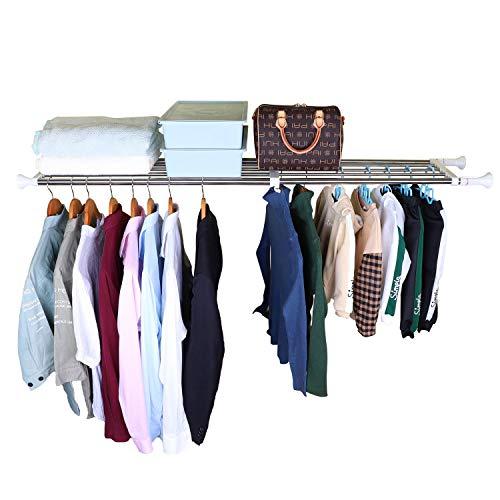LETSDIY 33.1 inch- 46.3 inch 5 tubes expendable adjustable tension closet shelves organizer hanging clothes system rod cabinet shelf clothing storage rack shelf rod wardrobe organization space saver
