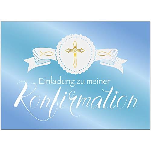 15 x Einladungskarten zur Konfirmation mit Umschlägen/Goldenes Kreuz, Blauer Verlauf/Konfirmationskarten/Einladungen zur Feier