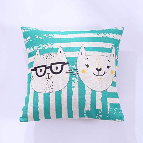 JSFQ Almohada Almohada Gruesa de algodón y Lino sofá de Dibujos Animados Almohada Lumbar del Coche Cama cojín de la Espalda, no es fácil de desvanecer, no es fácil de deformar (Color : F)