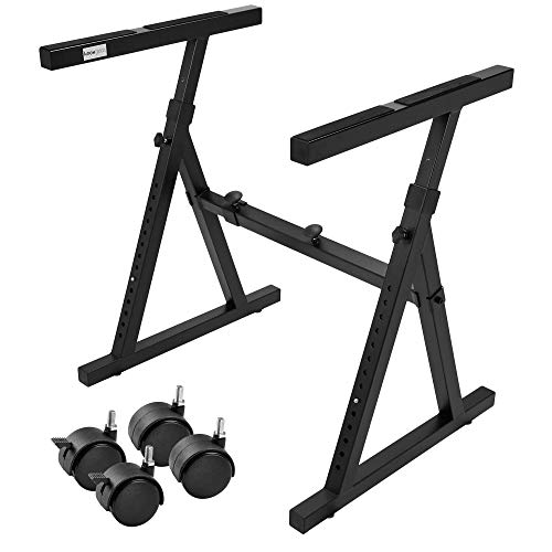 Knox Keyboard Piano Stand – Universal, Z Style, Pedal Friendly – Lightweight and Ultra Portable – Adjustable Height and Width – Optional Detachable Wheels - Professional Grade