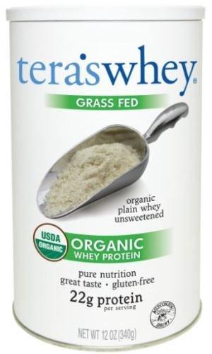 teraswhey Grass Fed Organic Whey Protein, Plain, 12 Ounce
