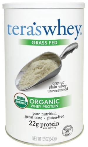 teraswhey Grass Fed Organic Whey Protein, Plain, 12 Ounce