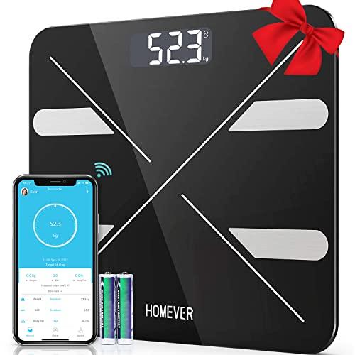Bilance Pesapersona Digitali, HOMEVER Impedenziometrica Inteligente Bilancia Pesa Persone con APP, BMI, Misura Peso Corporeo,Acqua,Muscolare, Massa Ossea, Proteine, 180kg/400lbs(batterie incluse)