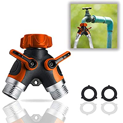 DBR Tech 2 Way Garden Hose Splitter for Outdoor Lawn and Gardening Hoses, Heavy Duty Metal Brass Faucet Attachment, Leak Resistant Threading with Shut Off Valves, Orange