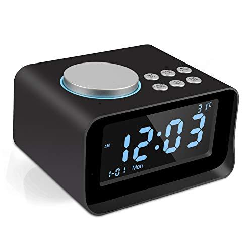 Yabtf Digital Radiowecker, Wecker Radio mit Bluetooth Lautsprecher, Snooze-Funktion, Dual-Alarm, MP3-Player, Aux/TF, Temperatur, 1 USB-Ladeanschluss(1.1A)-EINWEG (Schwarz)
