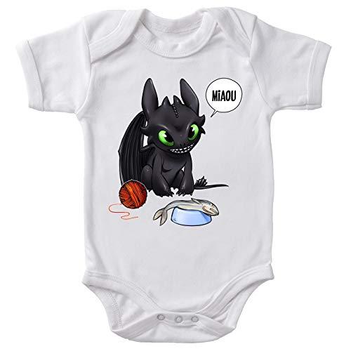 Okiwoki Body bébé Manches Courtes Blanc Parodie Dragons - Krokmou - Un Vrai Dragon Domestique.(Body bébé de qualité supérieure de Taille 3 Mois - imprimé en France)