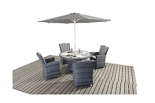 Manhattan grijze rotan tuinmeubelen 4 zitplaatsen ronde eettafel stoelen Set