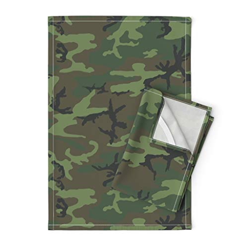 Roostery Camo Tea Towels Erdl Lime Dominant Color Camouflage Camping Solider Nursery Woodland by Ricraynor Set of 2 Linen Cotton Tea Towels