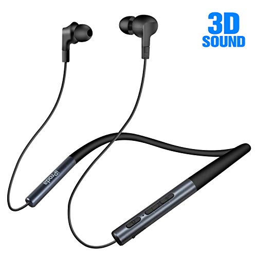 iProda Wireless Earbuds, X10 Bluetooth Neckband Headphones with Patented 3D Supernatural Sound and Bass, Bluetooth 5.0, with Magnetic Earbuds & Silicone Neckband, Built in Mic, Best for Outdoor Sports