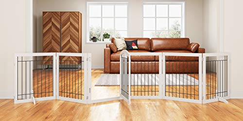 PAWLAND 144-inch Extra Wide 30-inches Tall Dog gate with Door Walk Through, Freestanding Wire Pet Gate for The House, Doorway, Stairs, Pet Puppy Safety Fence, Support Feet Included, White,6 Panels