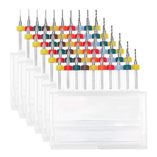 NBEADS 60 pz 10 Dimensioni Punte da Trapano per PCB, 6 Scatole 0.3mm-1.2mm Incisione CNC Micro Punta da Trapano Flauto A Spirale Utensile in Metallo Duro per Circuito Stampato Tavola