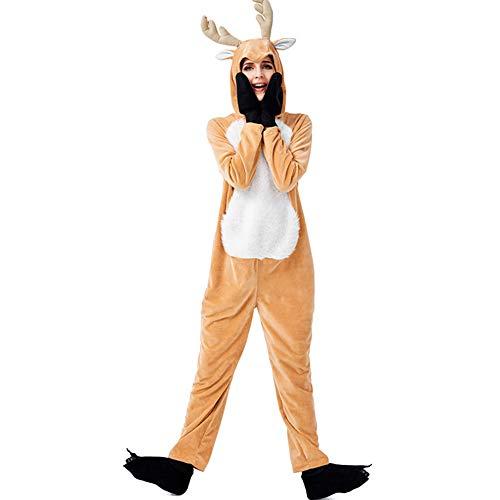 Jodimitty Rentier Kostüm für Damen Herren Pyjamas Weihnachten Kostüm Onesie Unisex Animal Cosplay Jumpsuit Schlafanzug Hirsch Erwachsene Spielanzug Kostüme