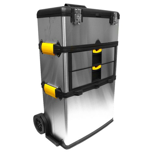 Stalwart 75-7577 Mobile 3-part Tool Box Stainless Steel