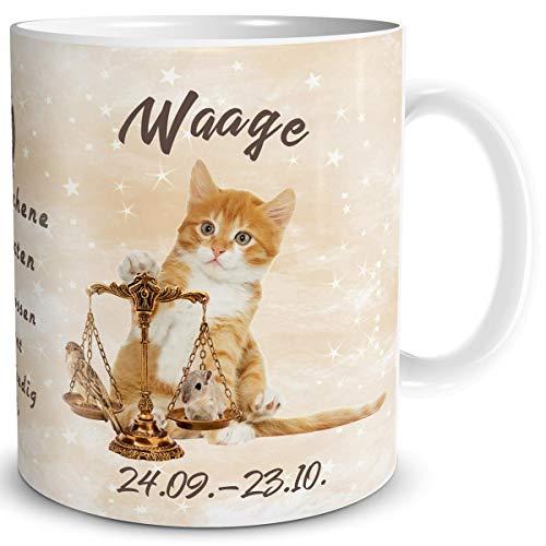 TRIOSK Tasse Katze lustig mit Spruch Sternzeichen Waage Katzenmotiv Geschenk für Katzenliebhaber Geburtstag Frauen Freundin