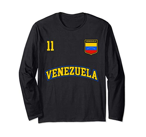Squadra Calcio Venezuela Numero 11 Bandiera Venezuelano Maglia a Manica