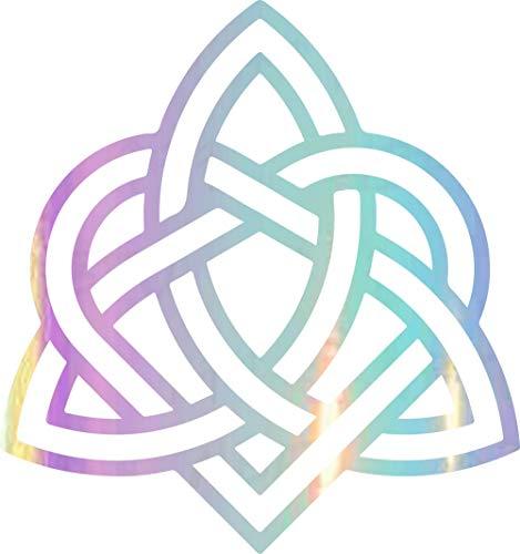 NBFU Decals Heart Celtic Triquetra Knot 1 (Holographic Opal Purple) (Set of 2) Premium Waterproof Vinyl Decal Stickers Laptop Phone Accessory Helmet Car Window Bumper Mug Tuber Cup Door Wall