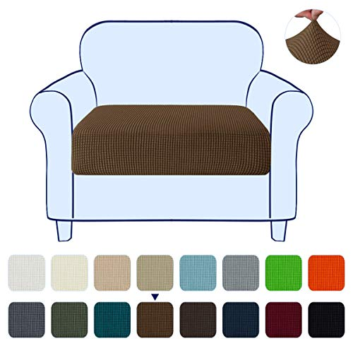 subrtex Couch Slipcover RV Seater Slip Loveseat Stretch Durable Sofa Cushion Cover Spandex Elastic Furniture Protector for Settee Seat for Replacement in Livingroom, Small, Coffee