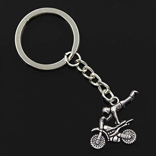 QWEDFG Mode Männer 30Mm Schlüsselbund Metallhalter Kette Motorrad Motor 25X25Mm Silber Farbe Anhänger Geschenk