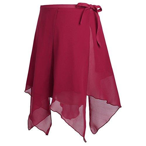 Agoky Damen Ballett Rock Chiffon Wickelrock Unregelmäßig Skater Rock Tanz Sport Gymnastik Mini Skirt Tanzrock Bekleidung in Rosa Weiß rot schwarz Weinrot One Size