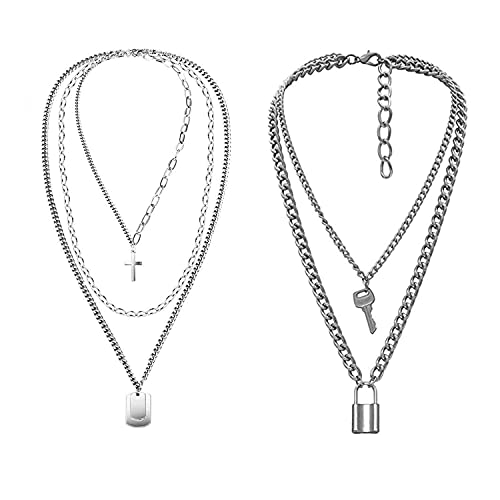 ZEEREE 2 Piezas Collares de Cadena de Punk Collar, Collar con Colgante Gargantilla de Cadena de Collar de aleación de Gargantilla Colgante Colgante de Cerradura Gargantilla para Mujeres Hombres (2)