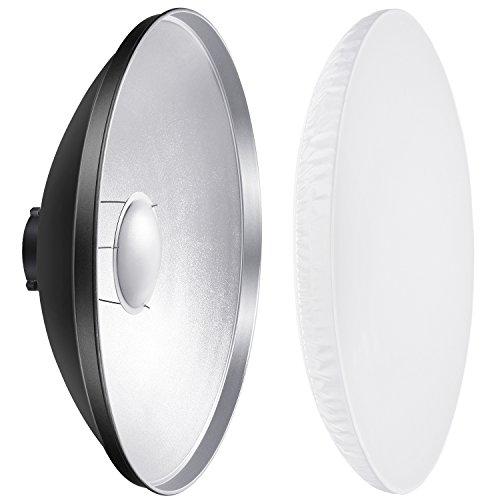 Neewer Riflettore di alluminio standard piatto di bellezza con diffusore bianco Calzino per Bowens Mount Studio Strobe Flash Light VC-400HS VC-300HH VC-300HHLR VE-300/41 centimetri