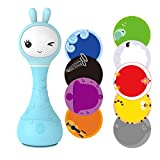 alilo Smarty Bunny Shake & Tell Musical Toy Rattle for Infants and Babies Newborn Games Soother with Lullaby Song Story Music Player (Blue)