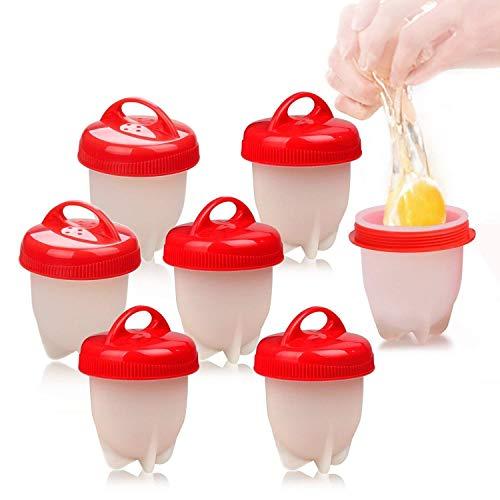 Love77 Eierkocher Silikon, Eierkochern Ohne Schale Easy Eggs, Tolle Handhabung, Leichtzureinigen, 7 Stück Maker Egg Cooker BPA Frei Antihaft Eier Pochier Schnelle