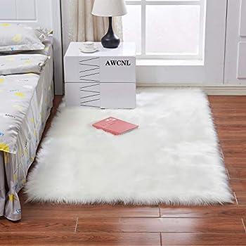 AWCNL Carpet Bedroom Carpet Area Floor mat Fluffy Carpet Imported Artificial Wool Sheepskin Carpet Children s Room Decoration Floor Sofa Living Room 3 x 5 feet Rectangular White
